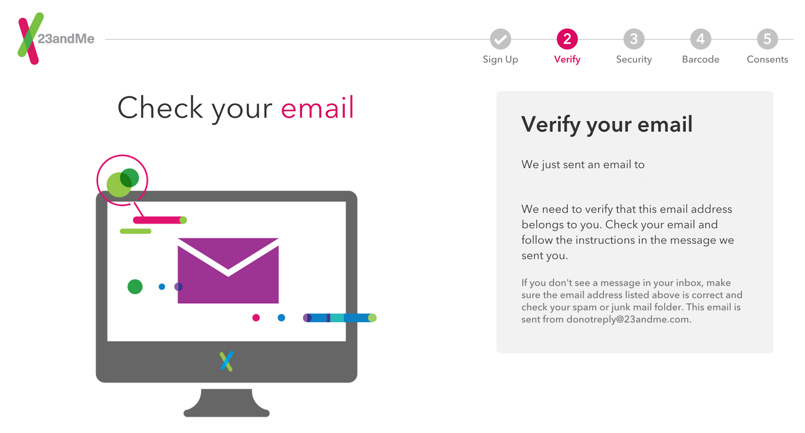 confirming your account email address 23andme customer