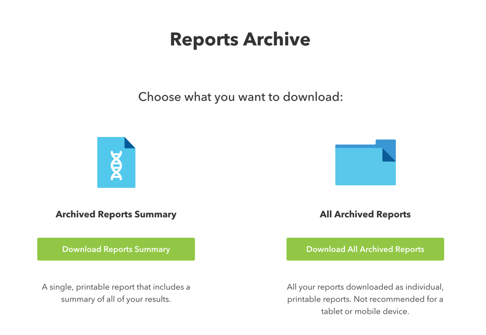 The two downloadable options presented to customers with a Reports Archive in their 23andMe accounts.